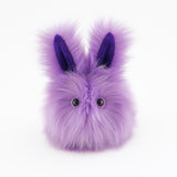 Lavender the Easter bunny plush toy, front view.
