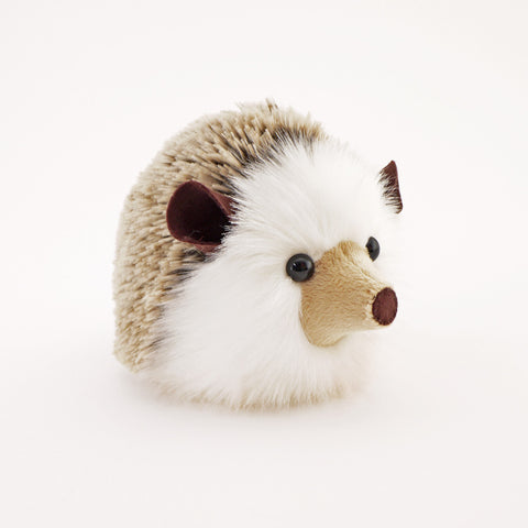 Sebastian the Brown Hedgehog Stuffed Animal Plush Toy angled view.