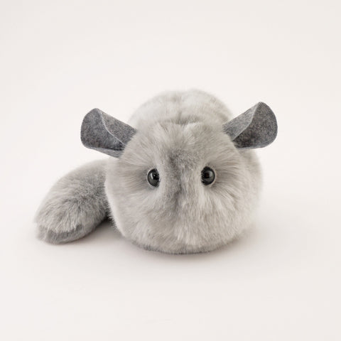 Comet the Light Grey Chinchilla Stuffed Animal Plush Toy front view.