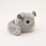 Comet the Light Grey Chinchilla Stuffed Animal Plush Toy angled view.