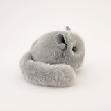 Comet the Light Grey Chinchilla Stuffed Animal Plush Toy side view.