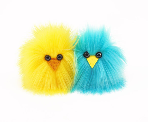 Micro Peep Chicks (Pair) Stuffed Animal Plush Toy, yellow and aqua shown.