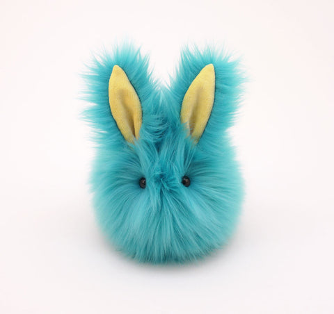 Breeze the aqua blue bunny stuffed animal plush toy front view.