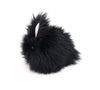 Blackie the Bunny stuffed animal plush toy side view.