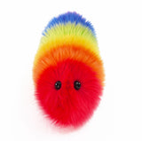 Bow the rainbow snuggle worm stuffed animal plush toy front view.