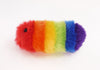 Bow the rainbow snuggle worm stuffed animal plush toy side view.