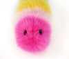 Girly rainbow snuggle worm stuffed animal plush toy close up view.