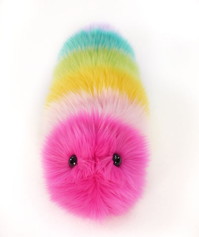 Girly rainbow snuggle worm stuffed animal plush toy front view.