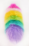 Girly rainbow snuggle worm stuffed animal plush toy back view.