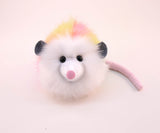 Rainbow Prism Opossum Stuffed Animal Plush Toy front view.