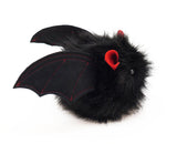 Vlad the Red Eared Black Bat Stuffed Animal Plush Toy side view.