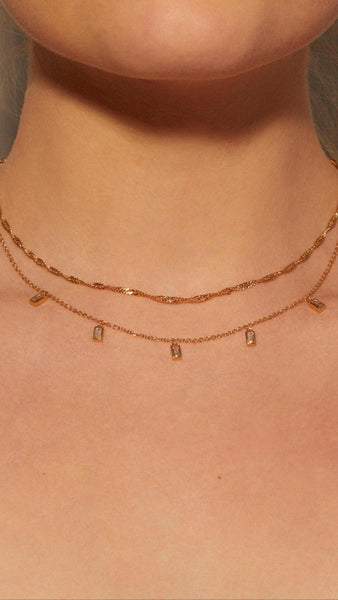 Baguette Drop Stone Necklace
