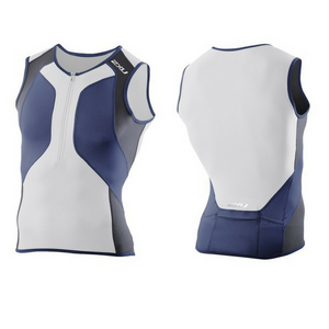 2XU Mens Perform Medium Indigo/Black/White Compression Tri Singlet (Reduced)