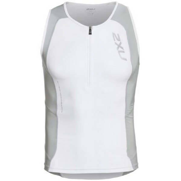 2XU Mens Perform Large White Compression Tri Singlet