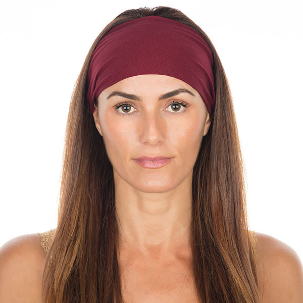 Burgundy Cotton Non-Slip Headband