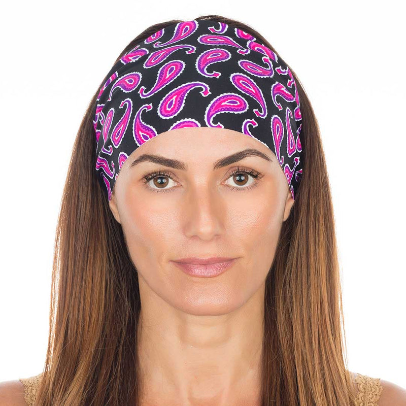 Pink Purple Black Paisley Non Slip