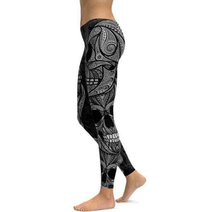 Black Ornamental Skull Leggings