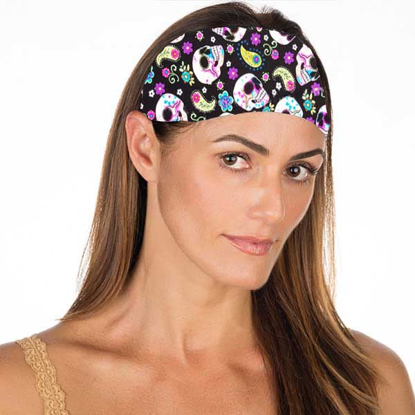 New! Black Sugar Skull Non Slip Headband