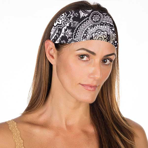 New! Black White Groovy Non Slip Headband