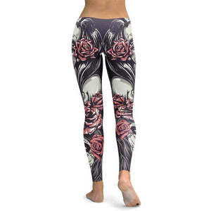 Black White & Pink Sugar Skulls & Roses Leggings
