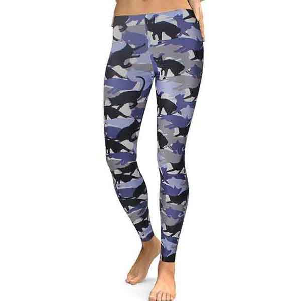Gray & Black Cat Camo Leggings