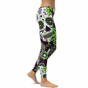 Green Sugar Skull Leggings