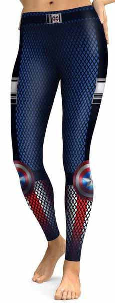Grey Black & Red Captain America Leggings