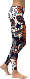 Orange Sugar Skull Leggings
