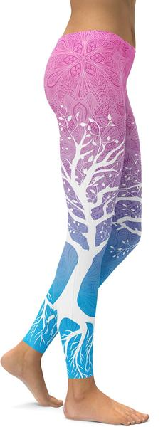 Pink To Blue Tree Of Life Leggings
