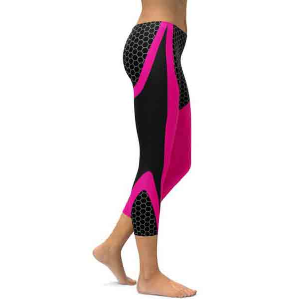 Pink & Black Honeycomb Carbon Leggings