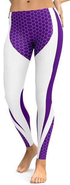Purple & White Honeycomb Leggings