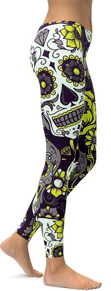 Yellow Sugar Skull Leggings
