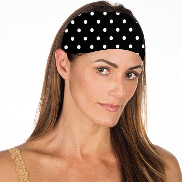 New! White Dots on Black No Slip Headband