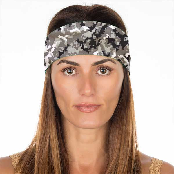New! Black White Matrix Camo Non Slip Headband