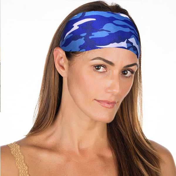 New! Camo Blue & White Non Slip Headband
