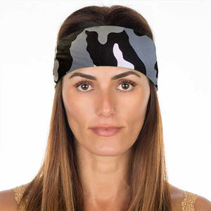 New! Black & White Camo Non Slip Headband