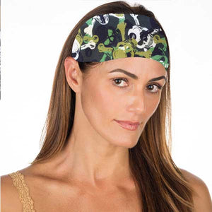 New! Green Camo Skulls No Slip Headband