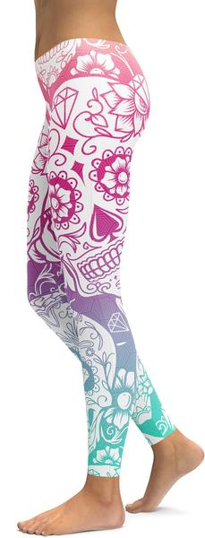 Pink & Blue Sugar Skull Leggings