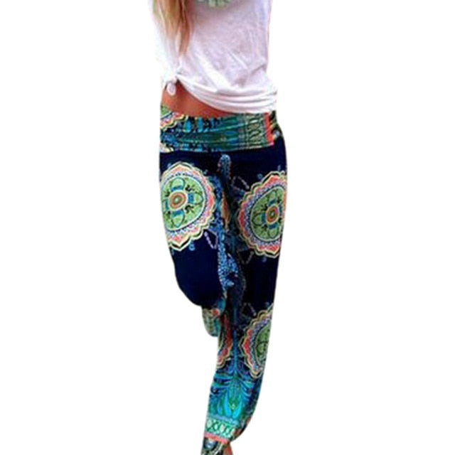 Blue Tie Dye High Waist Loose Fit Leggings