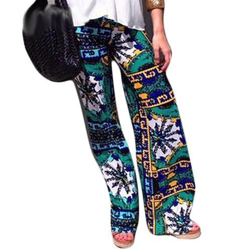 Dark Green Boho High Waist Loose Fit Leggings
