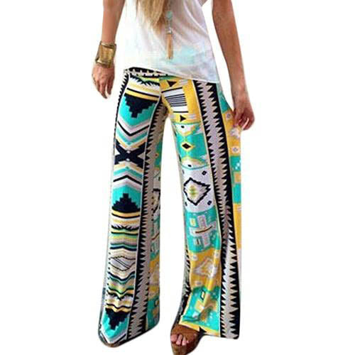 Green Yellow Aztec High Waist Loose Fit Leggings