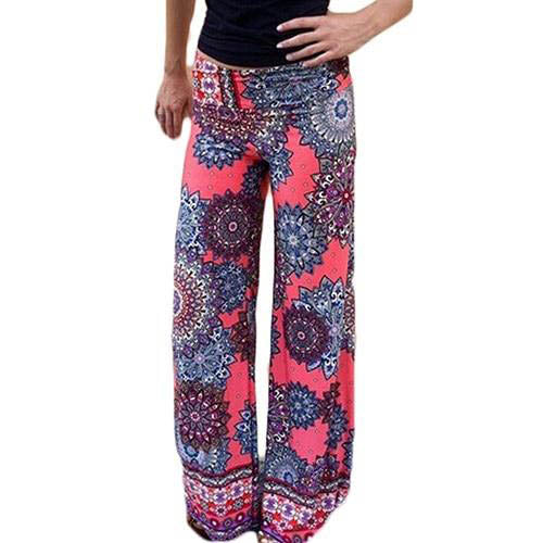 Pink Boho High Waist Loose Fit Leggings