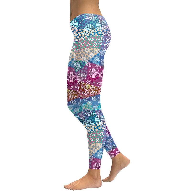 Happy Tabs Colorful Groovy Leggings
