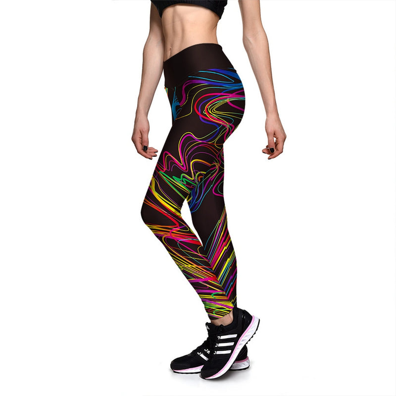 Black Fluorescent Striped High Waist Leggings