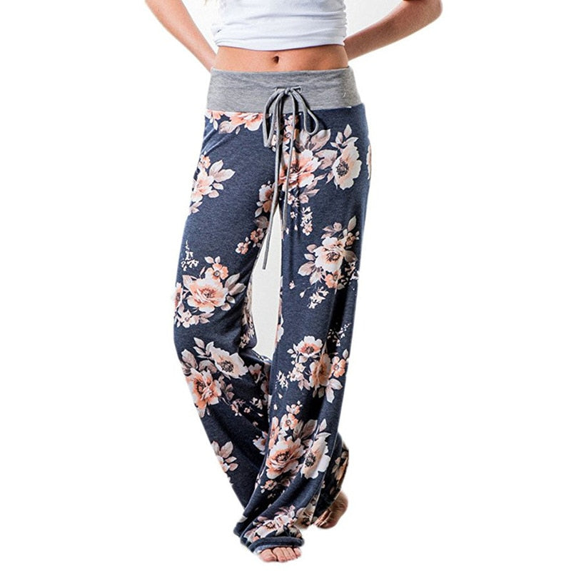 Navy Blue Floral Casual Wide Leg Pants