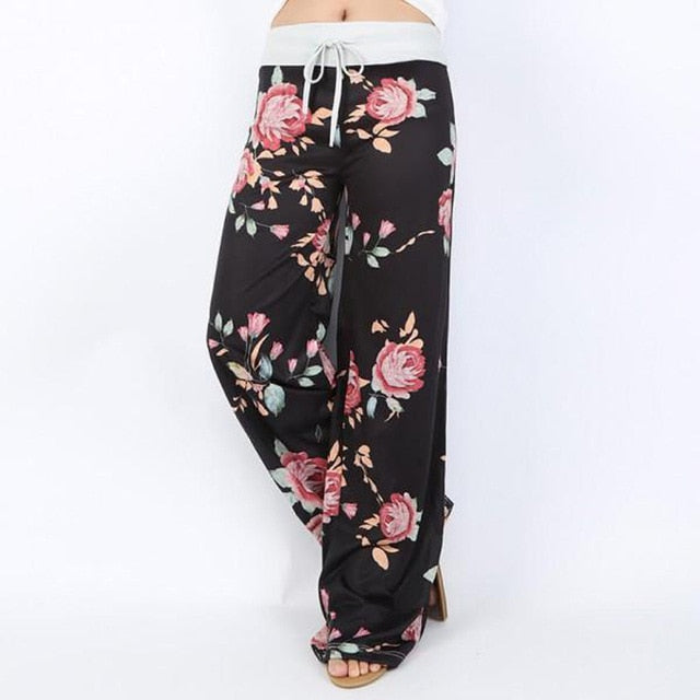 Black White Floral Casual Wide Leg Pants