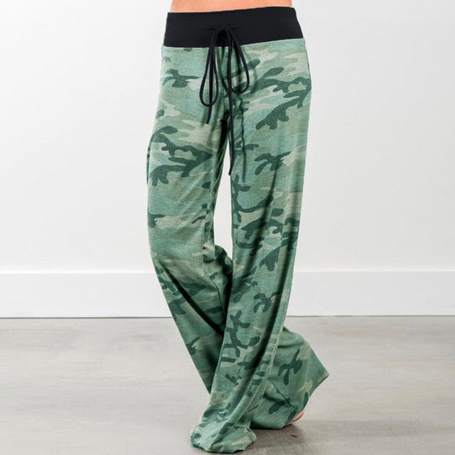 Green Camo Soft Casual Wide Leg Pants