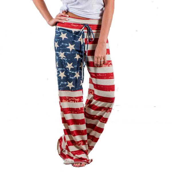 Distressed American Flag Casual Wide Leg Pants