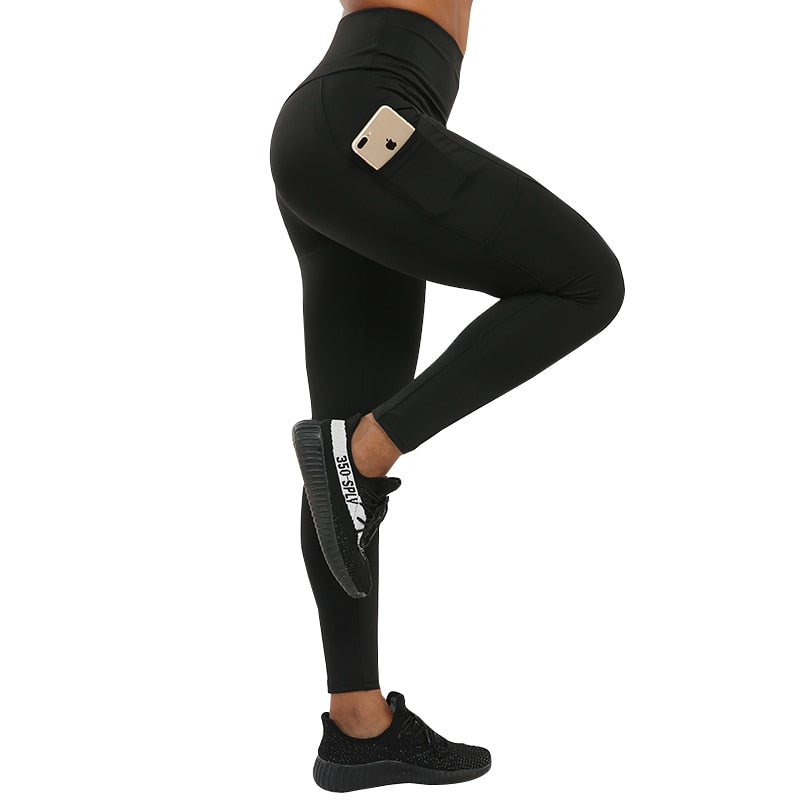 Black Mobile Phone Pocket High Waist Leggings