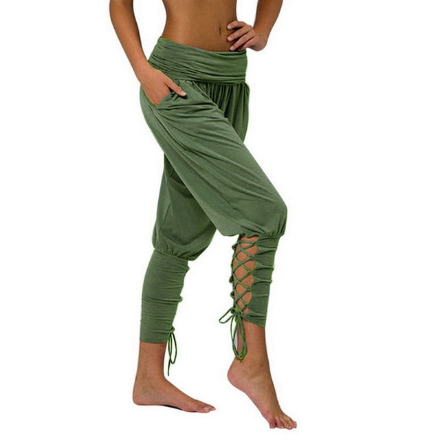 Olive Green Soft Solid Comfy Lace Up Leggings